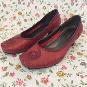 Hush Puppies Pasha Shoes 8M Red Leather Pumps Heel